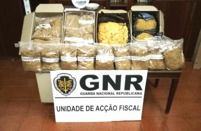 Unidade Fiscal da GNR apreende 76 quilos de folha de tabaco