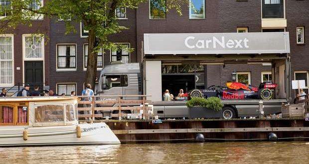 F1 Red Bull de Max Verstappen exibido em Amsterdão